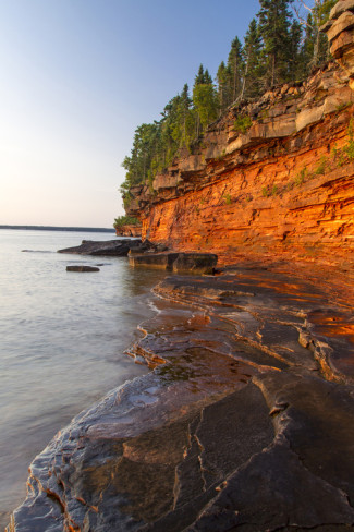 Sandstone Cliffs, Sea Caves, Devils Island, Apostle Islands Lakeshore, Wisconsin, USA