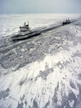 Finland, Ice-Breaker Making Way for Freighter in Northern Section of Gulf of Bothnia