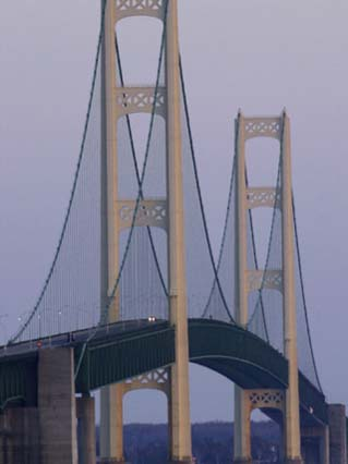 Michigan, Saint Ignace, the Mackinac Bridge Catches the Last Sunlight of the Day