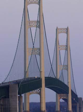 Michigan, Saint Ignace, the Mackinac Bridge Catches the Last Sunlight of the Day