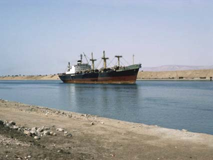 Northbound Ship, Suez Canal, Egypt, North Africa, Africa