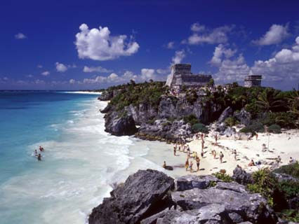 View of the Mayan site of Tulum, Yucatan, Mexico