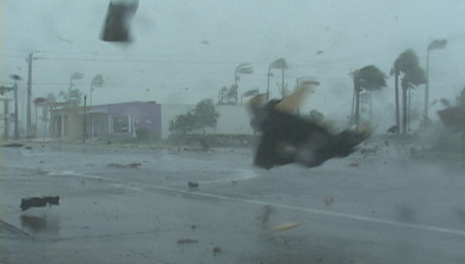 Debris Flying durring Hurricane Charley