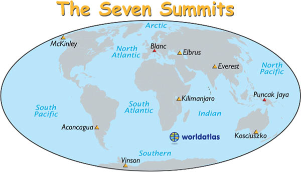 Map of the Seven Summits and Details of Each by World Atlas Kosciuszko Mountain In Oceania Map on mckinley mountain, elbrus mountain, shishapangma mountain, everest mountain, hamilton mountain, aconcagua mountain,