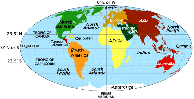 World Map Tropic Of Cancer