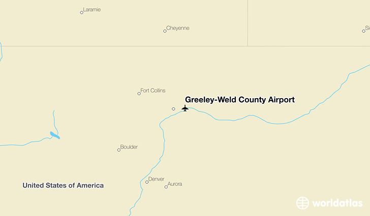 Greeley-Weld County Airport location on a map