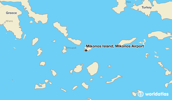Mikonos Island, Mikonos Airport location on a map