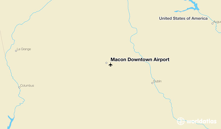 Macon Downtown Airport location on a map