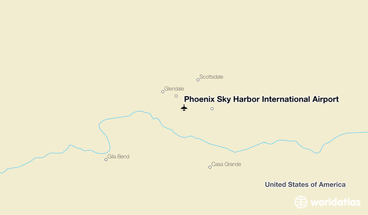 Phoenix Sky Harbor International Airport location on a map