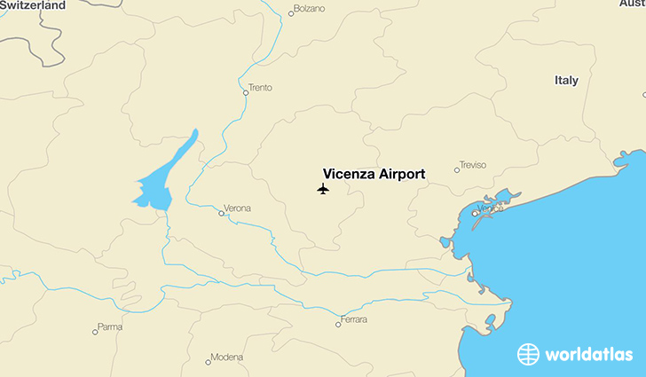 Vicenza Airport location on a map