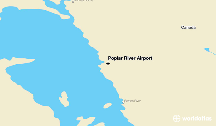 Poplar River Airport location on a map