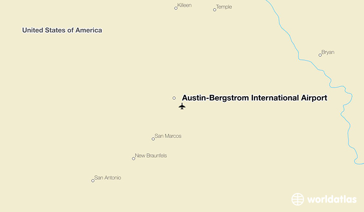 Austin-Bergstrom International Airport location on a map