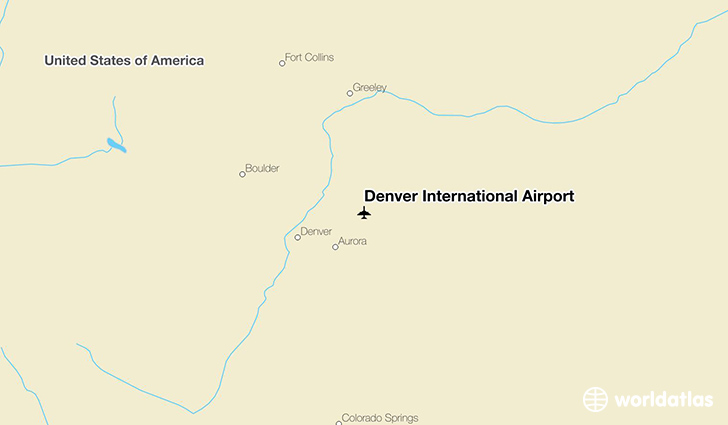 Denver International Airport location on a map