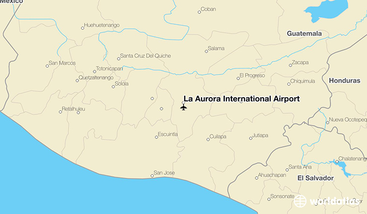 La Aurora International Airport location on a map
