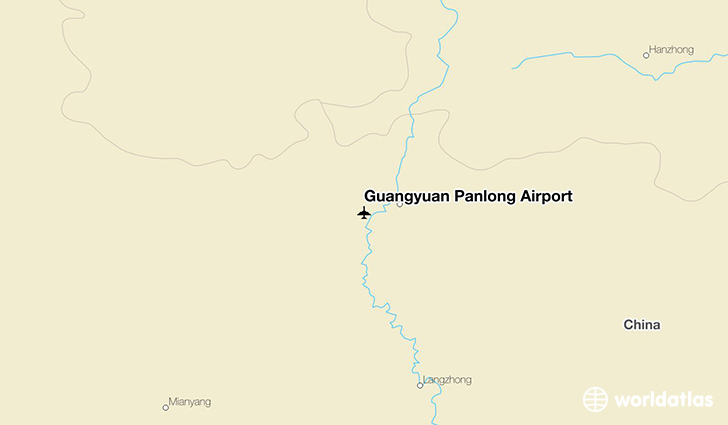 Guangyuan China  City new picture : Location of Guangyuan Panlong Airport on a map.