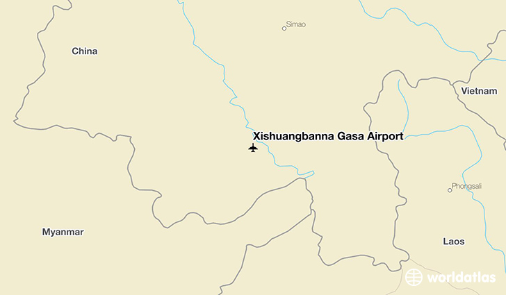 Xishuangbanna Gasa Airport location on a map