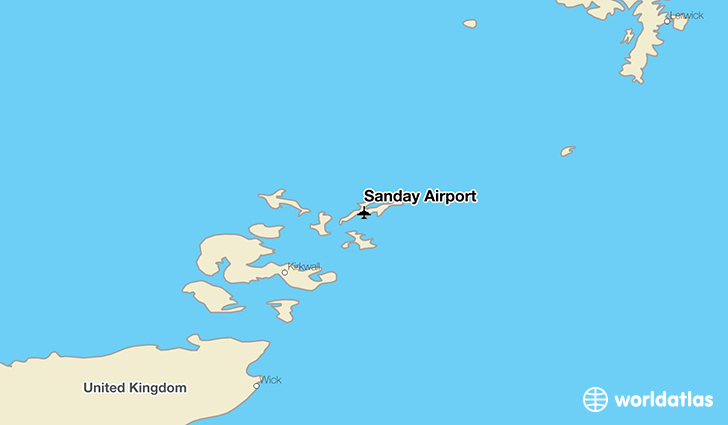 Sanday Airport location on a map