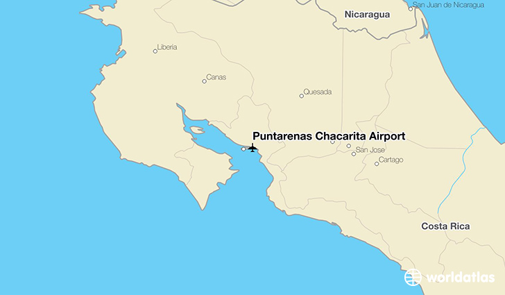 Puntarenas Chacarita Airport location on a map
