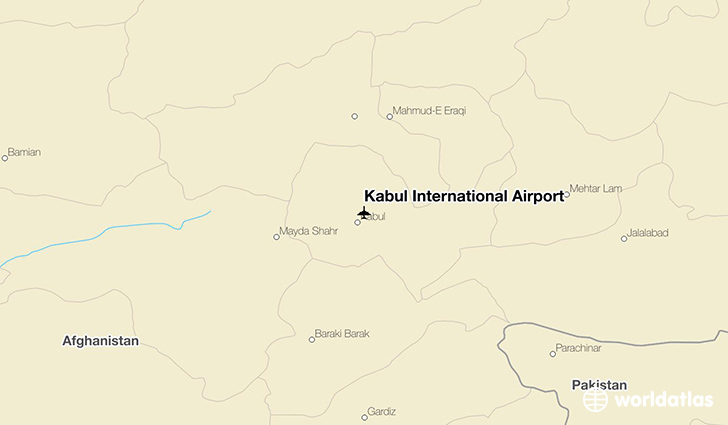 Kabul International Airport location on a map