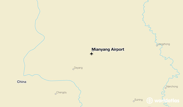 Mianyang Airport location on a map