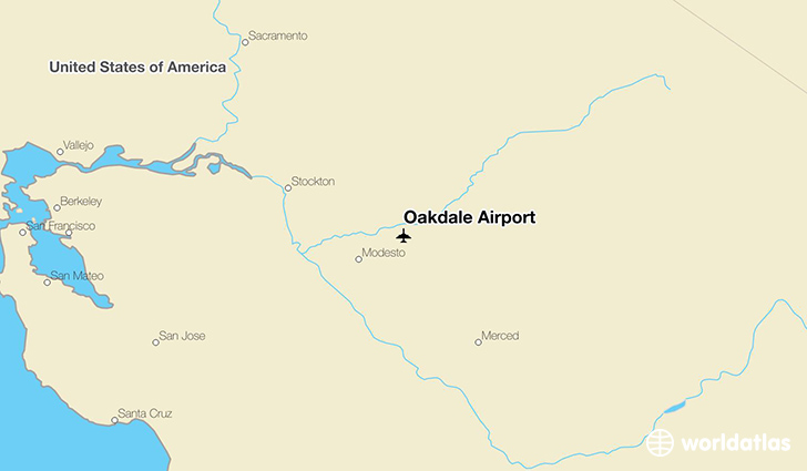 Oakdale (CA) United States  city photos : Location of Oakdale Airport on a map.