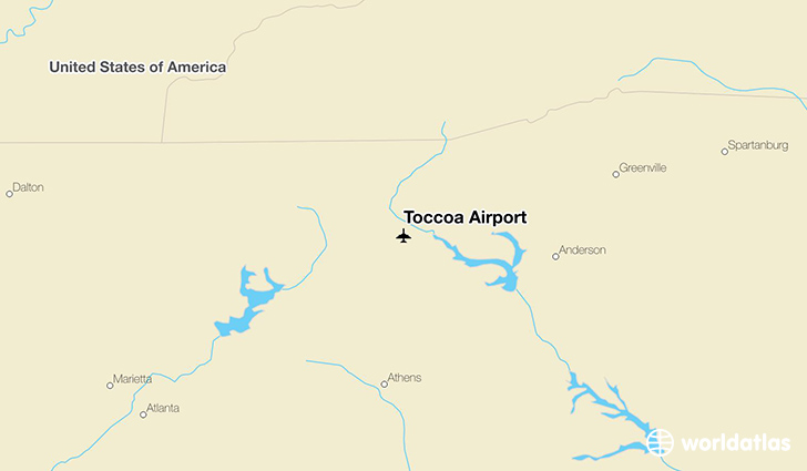 Toccoa Airport location on a map