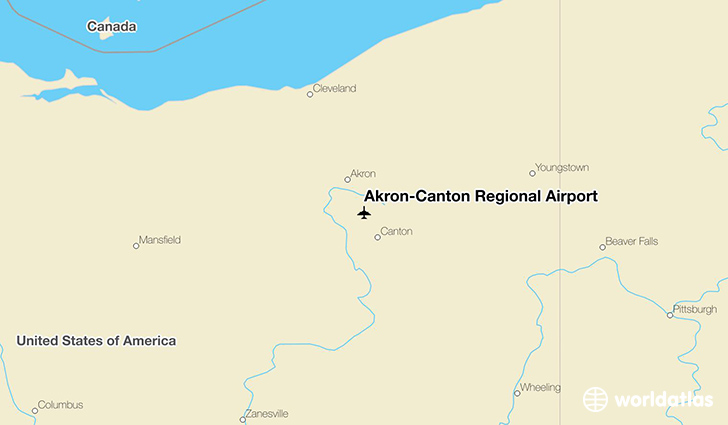 Akron-Canton Regional Airport location on a map
