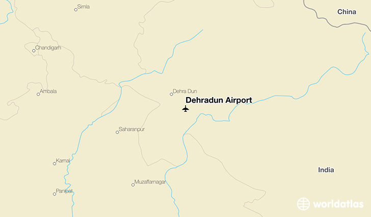 Dehradun Airport location on a map