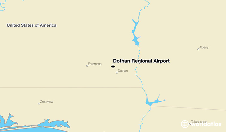Dothan Regional Airport location on a map