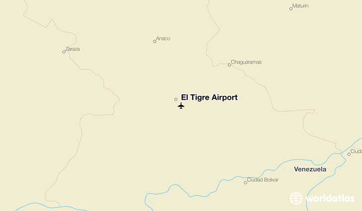 El Tigre Airport location on a map
