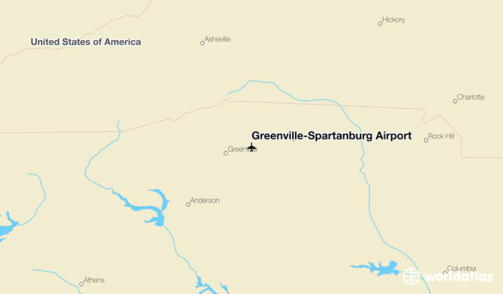 Greenville-Spartanburg Airport location on a map