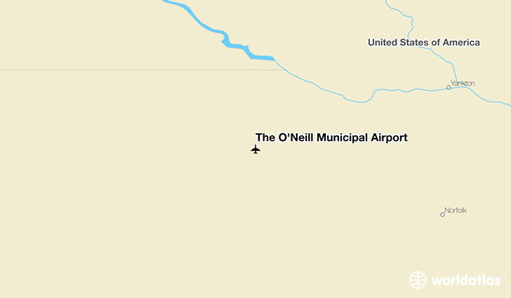 The O'Neill Municipal Airport location on a map