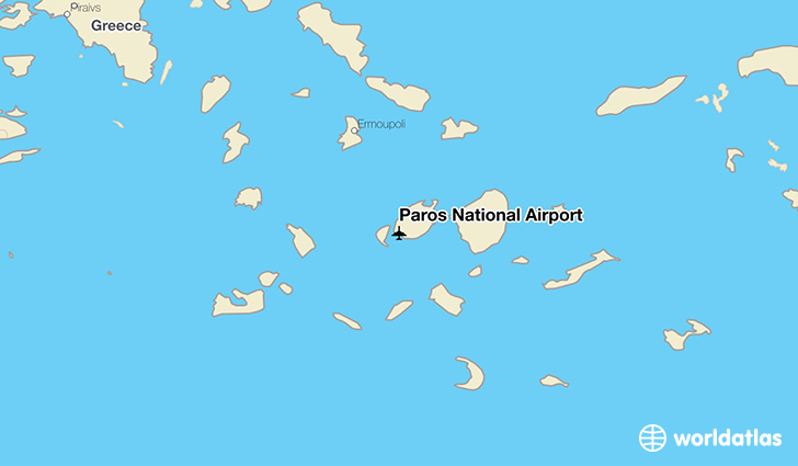 Paros National Airport location on a map