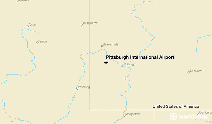 Pittsburgh International Airport location on a map