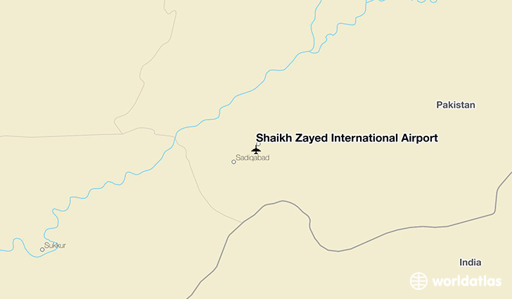 Shaikh Zayed International Airport location on a map