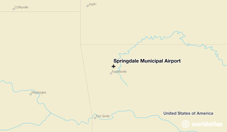 Springdale Municipal Airport location on a map