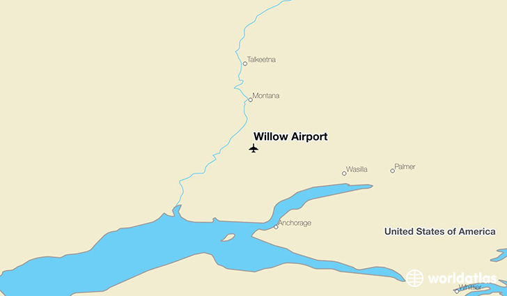 Willow Airport location on a map