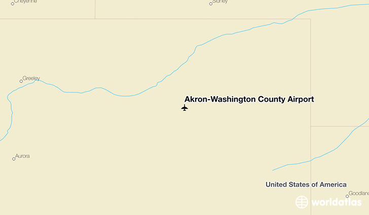 Akron-Washington County Airport location on a map