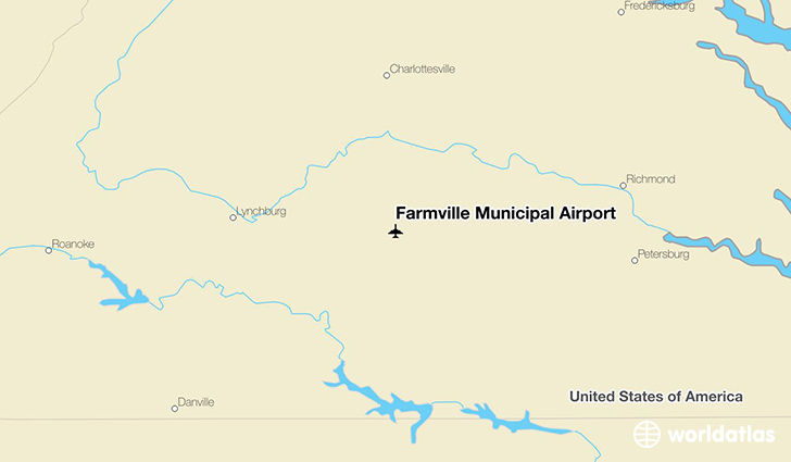 Farmville Municipal Airport location on a map