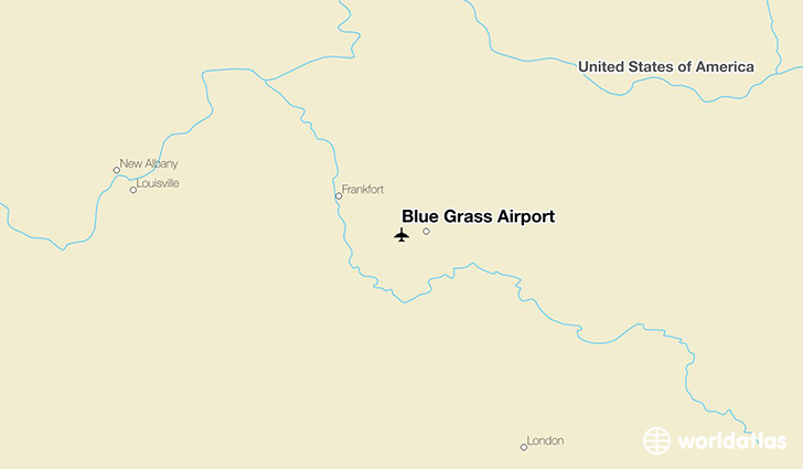 Blue Grass Airport location on a map