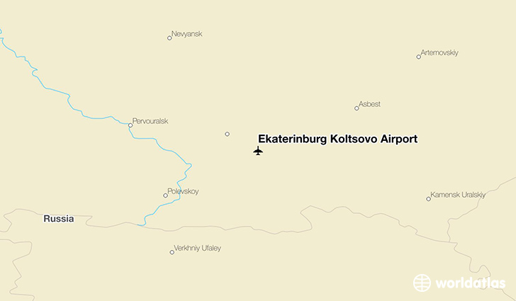 Ekaterinburg Koltsovo Airport location on a map