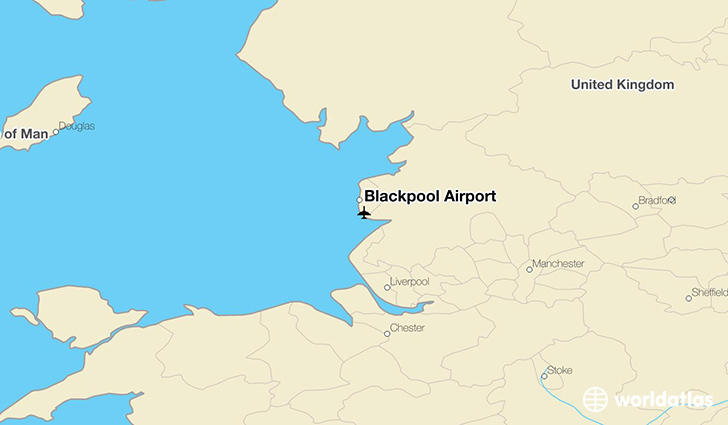 Blackpool Airport location on a map
