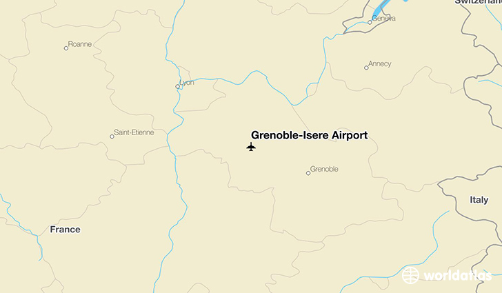 Grenoble-Isère Airport location on a map
