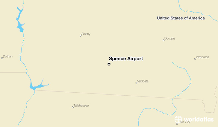 Spence Airport location on a map