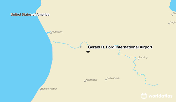Gerald R. Ford International Airport location on a map