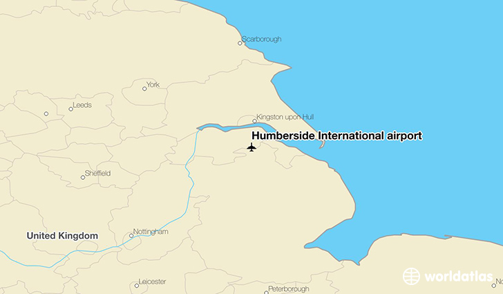Humberside International airport location on a map