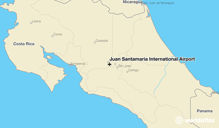 Juan Santamaria Airport Map Juan Santamaría International Airport (SJO)   WorldAtlas Juan Santamaria Airport Map