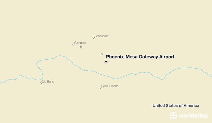 Phoenix-Mesa Gateway Airport location on a map