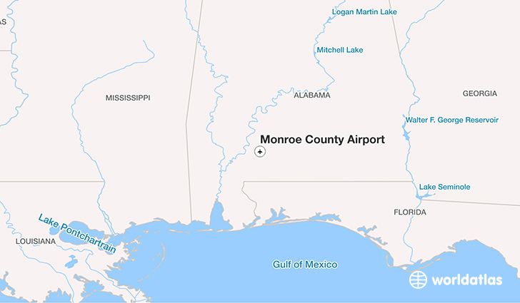 Monroe County Airport location on a map