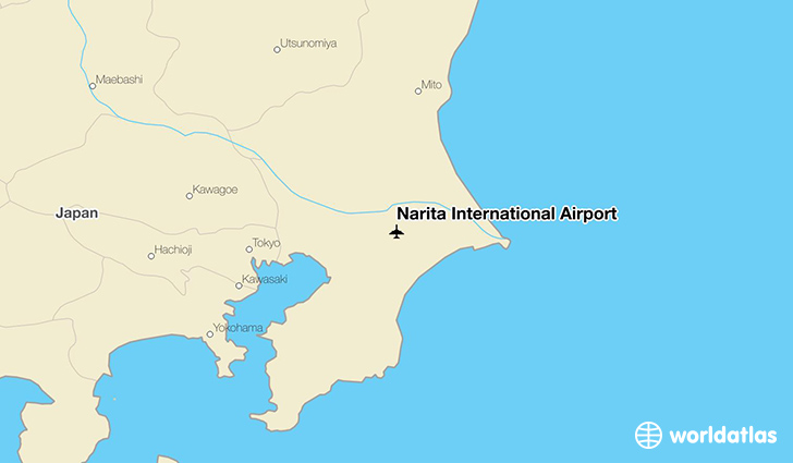 Narita International Airport location on a map